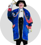 Medieval British town crier ringing a bell and shouting the news